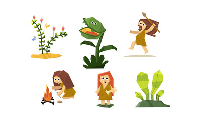 Primitive cave people set, cute geometric prehistoric neanderthal man and woman, carnivorous plant vector Illustration
