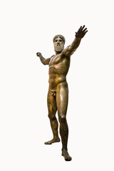 Isolated bronze statue of Zeus or Poseidon in a white background