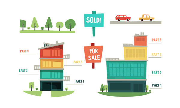 Real estate infographic elements, purchase and sale of property vector Illustration on a white background