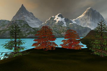 Mountains, an alpine landscape, grass on the ground, beautiful trees, blue water on the lake and a cloudy sky.