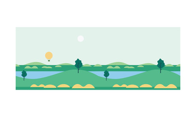 Beautiful nature summer landscape with river and hot air balloon at dday time vector Illustration
