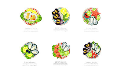 Seafood dishes set, shrimps, mussels, oysters, marine products, caviar restaurant menu vector Illustration