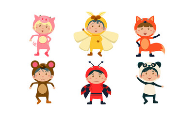 Kids in carnival costumes set, cute little boys and girls wearing insects and animals clothes, pig, bee, monkey, fox, ladybug, panda bear vector Illustration