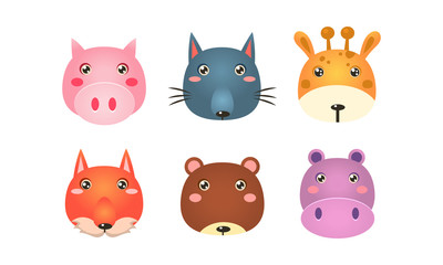 Fototapete - Cute animal heads set, funny faces of pig, wolf, giraffe, fox, bear, hippo vector Illustration on a white background