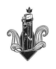 Modern vector illustration with lighter. Contemporary design. Useful element, print, badge or sticker.