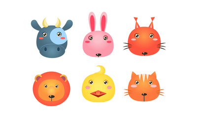 Fototapete - Cute animal heads set, funny faces of cow, bunny, squirrel, lion, duck, cat vector Illustration on a white background