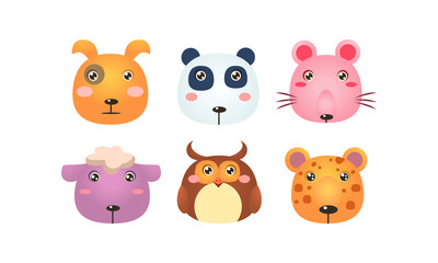Wall Mural - Cute animal heads set, funny faces of dog, panda bear, mouse, sheep, owl, tiger vector Illustration on a white background