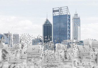 Modern city view. Business cityscape.