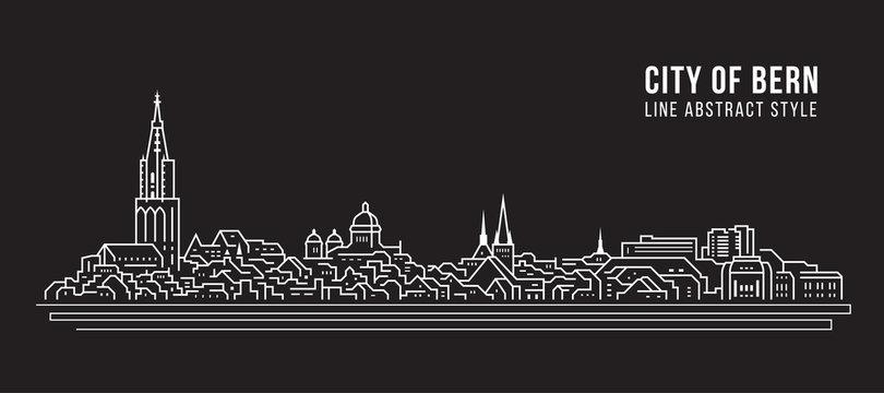 Cityscape Building Line art Vector Illustration design - city of bern