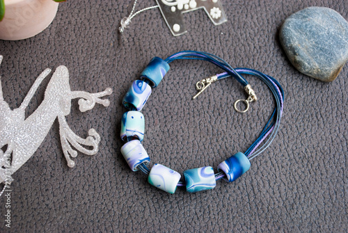 Polymer Clay Christmas Jewelry.Handmade Boho Style Blue Winter Beads Necklace Of Polymer