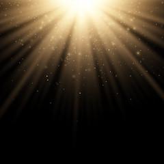 Wall Mural - Golden stylish light effect on a black background. Golden rays. Bright explosion. Flying golden magical dust. Sunlight. Christmas light. Vector illustration