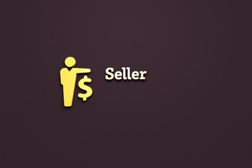 Text Seller with yellow 3D illustration and brown background