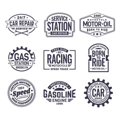 Labels for gas station,car repair service,racing