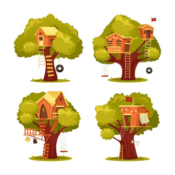 Treehouse for kids or children. Home on tree