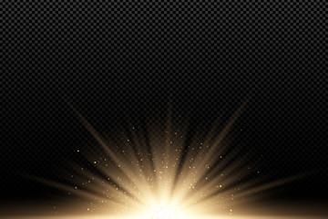 Golden stylish light effect on a dark transparent background. Golden rays. Bright explosion. Flying golden magical dust. Sunlight. Christmas light. Backlight. Vector illustration Wall mural