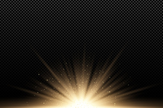 Golden stylish light effect on a dark transparent background. Golden rays. Bright explosion. Flying golden magical dust. Sunlight. Christmas light. Backlight. Vector illustration