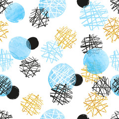 Seamless dotted pattern with blue, black and golden circles. Vector abstract background with round shapes.