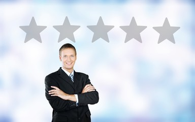 Online business man management rating reputation abstract