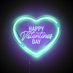heart neon signboard ice turquoise2