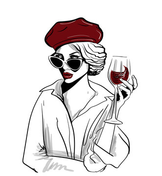 red beret woman with glass of wine