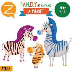 Letter Z-Mega big set.Cute vector alphabet with family of animals in cartoon style.