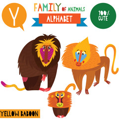 Letter Y-Mega big set.Cute vector alphabet with family of animals in cartoon style.