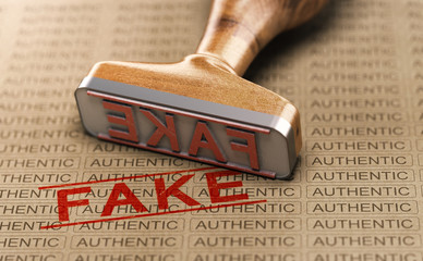Fact Checking, Authentic vs Fake Product. Counterfeit Concept Wall mural