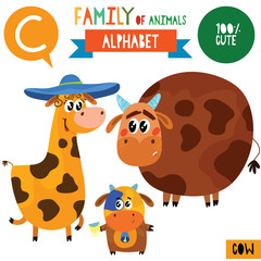 Letter C-Mega big set.Cute vector alphabet with family of animals in cartoon style.