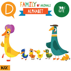 Letter D-Mega big set.Cute vector alphabet with family of animals in cartoon style.