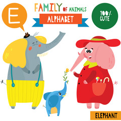 Letter E-Mega big set.Cute vector alphabet with family of animals in cartoon style.