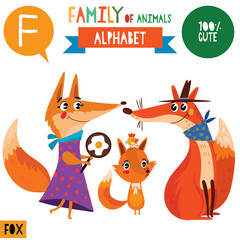 Letter F-Mega big set.Cute vector alphabet with family of animals in cartoon style.