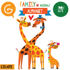 Letter G-Mega big set.Cute vector alphabet with family of animals in cartoon style.