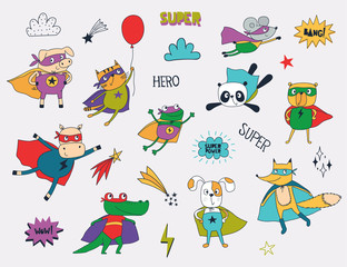 Little animals in superhero costumes