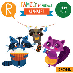 Letter R-Mega big set.Cute vector alphabet with family of animals in cartoon style.