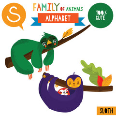 Letter S-Mega big set.Cute vector alphabet with family of animals in cartoon style.