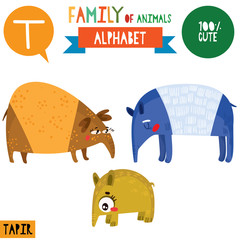 Letter T-Mega big set.Cute vector alphabet with family of animals in cartoon style.