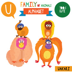 Letter U-Mega big set.Cute vector alphabet with family of animals in cartoon style.