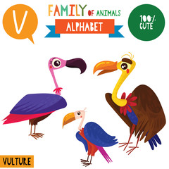 Letter V-Mega big set.Cute vector alphabet with family of animals in cartoon style.