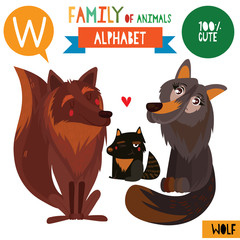 Letter W-Mega big set.Cute vector alphabet with family of animals in cartoon style.