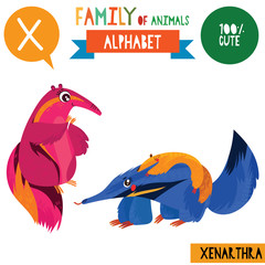 Letter X-Mega big set.Cute vector alphabet with family of animals in cartoon style.