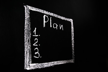 drawn with white chalk on a black chalkboard frame with the word plan