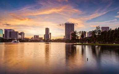 Downtown Orlando from Lake Eola Park at Sunset