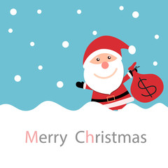 Christmas card with Santa Claus with snow and holding money bag