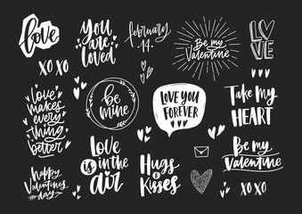 Set of elegant Valentine's day letterings, romantic phrases, quotes and holiday wishes decorated by hearts isolated on black background. Monochrome festive vector illustration for 14th of February.
