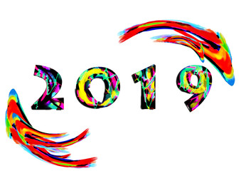 Happy new year background . 2019 text design