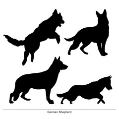 German Shepherd breed dog. Vector silhouette of the dog