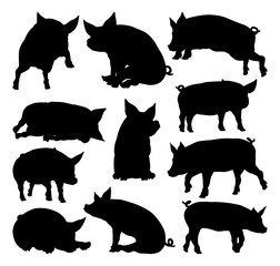 A pig silhouettes farm animal graphics set