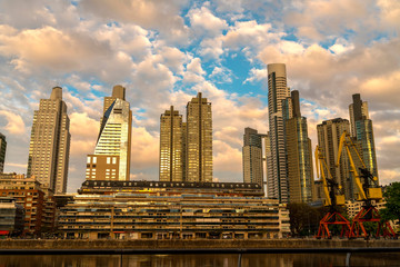 Argentina, Buenos Aires, Puerto Madero in the evening light Papier Peint