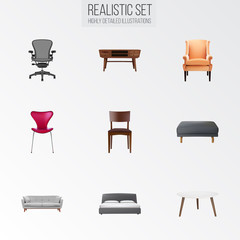 Set of decoration realistic symbols with stool, pouf, double bed and other icons for your web mobile app logo design.