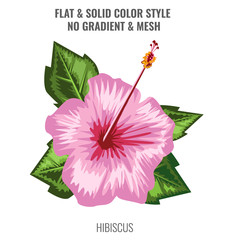Hibiscus blooming flower with watercolor or hand drawn style. Flat and solid color design. Vector illustration.